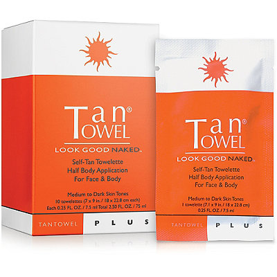 Tan Towel Plus Self-Tan Towelette Half Body Application For Face & Body