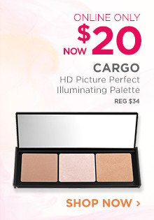 Online Only. Now $20, Cargo HD Picture Perfect Illuminating Palette, regular $34. Shop Now.