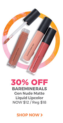 30% off bareMinerals Gen Nude Matte Liquid Lip Color is now $12.60, regular $18. Shop now.