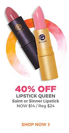 40% off Lipstick Queen Saint or Sinner Lipsticks, now $14 each, regular $24 each. Shop now.