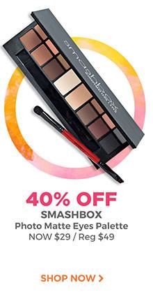 40% off Smashbox Photo Matte Eyes Palette, now $29, regular $49. Shop now.