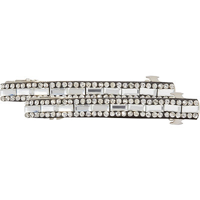 Elle Black %26 Clear Stone Barrettes