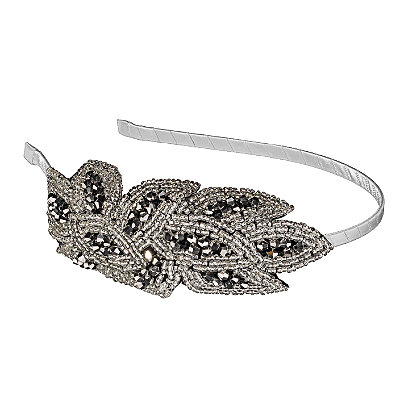 Elle Beaded Silver Flower Headband