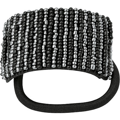 Karina Black & Grey Seed Beaded Ponytailer