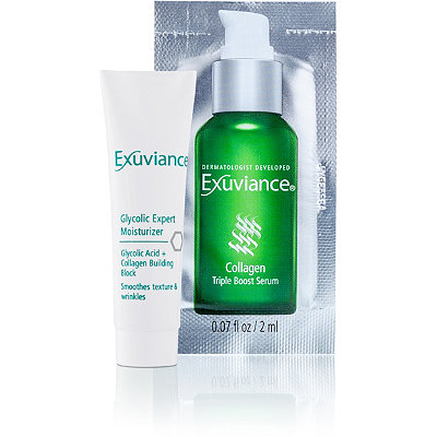 Exuviance FREE Deluxe Sample Glycolic Expert Moisturizer and Collagen Triple Boost Serum Packette w/any Exuviance purchase