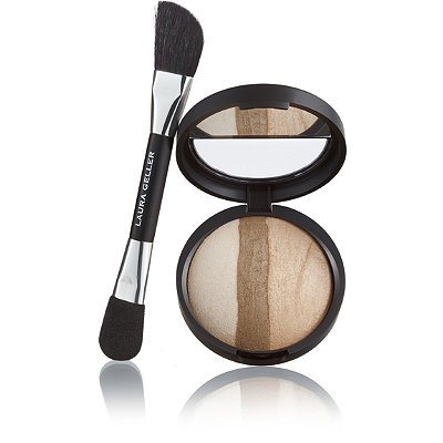 Laura Geller Baked Sculpting Bronzer with Double-Ended Bronzer & Highlighter Applicator