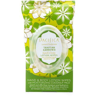 PacificaTahitian Gardenia Hand & Body Lotion Wipes 30 Ct