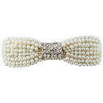 Barrette Pearl And Stone Bow