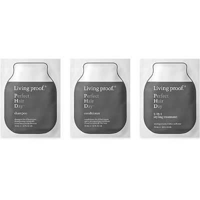 FREE Perfect Hair Day Shampoo, Conditioner & Styler sample packette trio 0.33 oz. each w/any $24 Living Proof purchase