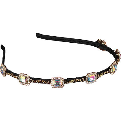 Elle Headband Iridescent Stone/Gold Chain