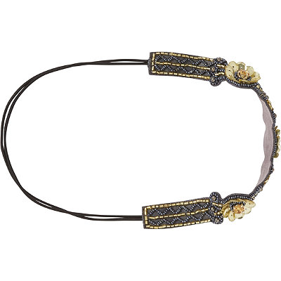 Elle Gold %26 Black Beaded Headwrap