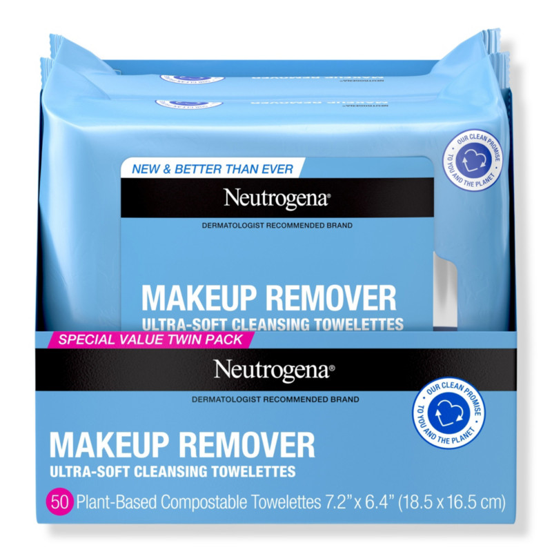 Neutrogena Makeup Remover Cleansing Towelettes Yes To Cucumbers Soothing Hypoallergenic Facial Wipes, 10 ct (Pack of 6) + Curad Dazzle Bandages 25 Ct