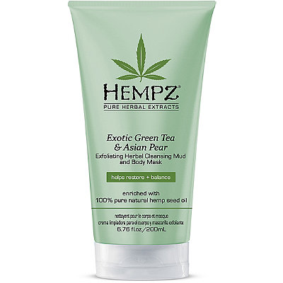 HempzExotic Green Tea & Asian Pear Exfoliating Herbal Cleansing Mud and Body Mask