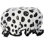 Style To Go Travel Black And White Polka Dot Shower Cap