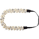 RivieraDouble Row Faux Pearl And Rhinestone Head Wrap