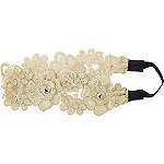 RivieraDelicate Flower Embroidered Head Wrap W/ Stone