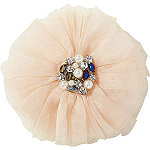 RivieraFrayed Flower With Faux Pearl And Rhinestone Cluster Clip
