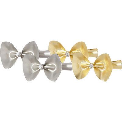 Matte Gold & Silver Bow Salon Clips