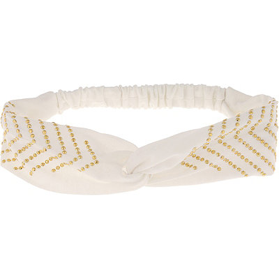 Capelli New York Head Wrap Fabric Twist Front White