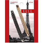 Elle Barrette Braided Leather 2pk
