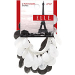 Elle Ponytailer Beaded Black & White 2pk