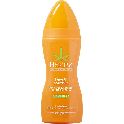 Hempz Yuzu %26 Starfruit Daily Herbal Moisturizing Dry Oil Body Spray Broad Spectrum SPF 30