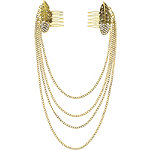 Capelli New York Antique Gold Leaf Combs with Swag Chains