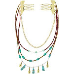 Capelli New York Turquoise Beaded Swag Chain Combs