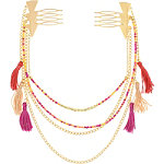 Capelli New York Pink Beaded Swag Chain Combs