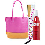 Chi Online Only Pink Papaya Flat Iron Set with Free Tote