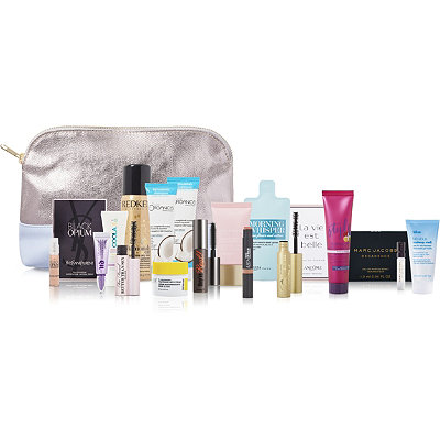 FREE 17pc Silver & Blue Beauty Bag with any 75 purchase, a 140