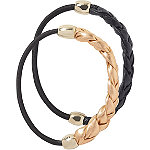 Black and Rose Gold Braided Ponytailers