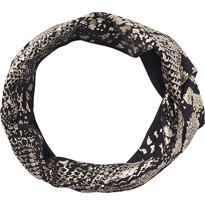 Elle Head Wrap Metallic Print Black