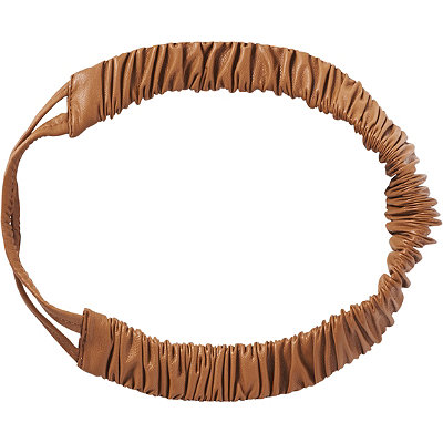 Elle Brown Leather Scrunched Head Wrap