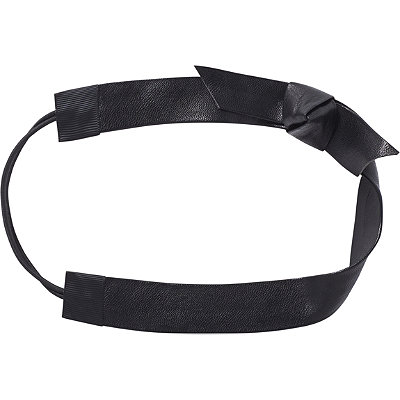 Elle Black Leather Bow Head Wrap