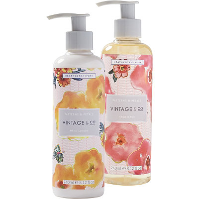 Heathcote & Ivory Vintage %26 Co Patterns and Petals Hand Wash %26 Lotion Set