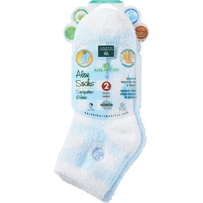 Earth Therapeutics Plaid %26 Solid Blue Aloe Socks