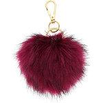 Tipped Fur Pom Wine Key Chain