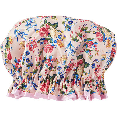 The Vintage Cosmetic CompanyPink Floral Satin Shower Cap