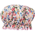Pink Floral Satin Shower Cap
