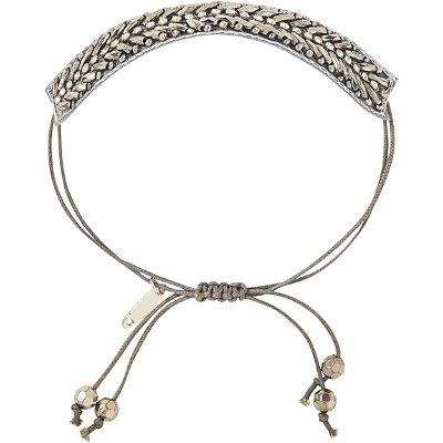 Pink PewterSilver Drawstring Bracelet
