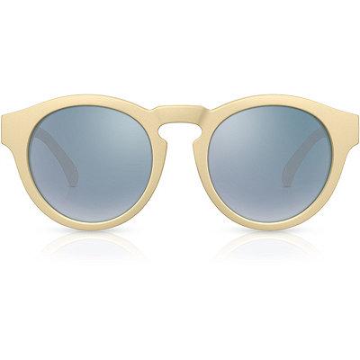 PerverseOmorfia %22Ghoulish%22 Cream Retro Round Mirror Lens Sunglasses