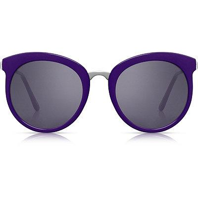 PerverseRedondo %27%27Eggplant%27%27 Oversize Retro Round Sunglasses