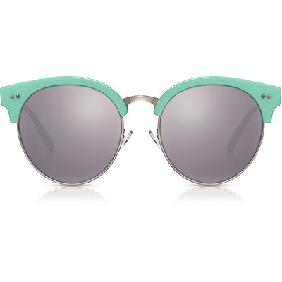 Perverse Taehler %22Renee%22 Mint Green Round Browline Sunglasses