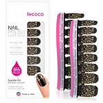 Incoco Nail Polish Appliqués - Nail Art Designs Sparkle On (gold glitter over black)