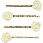 Small Cream Flower Bobby Pins
