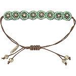 Mint Beaded Flower Drawstring Bracelet