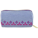 Coral Palm Pencil Case Chambray