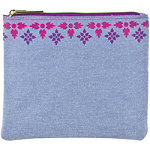 Coral Palm Clutch Chambray