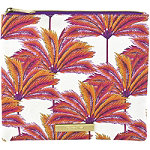 Coral Palm Clutch Print